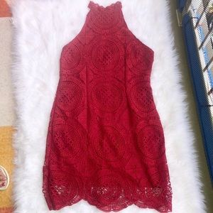 Charlotte Russe Red Lace High Neck Dress